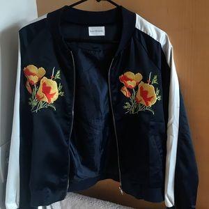 Retro Poppy Silk Bomber Jacket